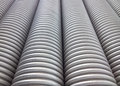 Corrugated plumbing pipe neatly arranged Royalty Free Stock Photography