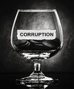 Corruption paper on glass in the dark Royalty Free Stock Photo