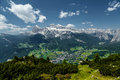 Cortina di a mpezzo and mountains at summertime viewed from one of the sides Royalty Free Stock Photo