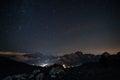Cortina night landscape d ampezzo in a summer cold of dolomiti area Stock Image