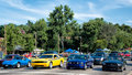 Corvette challenger mustangs dream cruise bloomfield hills mi usa august a chevrolet chevy a dodge and two ford at the woodward Royalty Free Stock Images