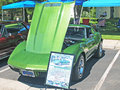 Corvette stingray this is a lime green chevrolet with a c i engine that put out a measly h p this car would not burn rubber Stock Photo