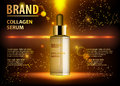 Cosmetic beauty product, ads of premium serum essence bottle for skin care. Gold cosmetic glass bottle with dropper