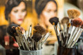Cosmetic brushes for makeup Royalty Free Stock Photo