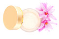 Cosmetic cream blossom top view white background luxurious cosmetics makeup concept Royalty Free Stock Photo