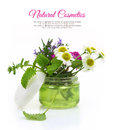 Cosmetic cream jar with herbs inside Stock Photos