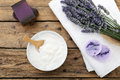 Cosmetic cream and lavender flowers Royalty Free Stock Photo