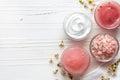 Cosmetic cream, shower gel, body scrub and bath salt Royalty Free Stock Photo