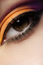 Cosmetic. Macro of fashion oriental eye make-up Stock Images
