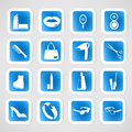 Cosmetic make up and beauty icons Stock Photography