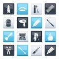 cosmetic, make up and hairdressing icons over color background Royalty Free Stock Photo