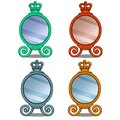 Cosmetic mirror with crown decoration in cartoon