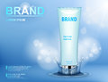 Cosmetic moisturizing brand product. Container with cream on blue background with water splash and soft bokeh. Realistic