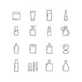 Cosmetic package bottles thin outline vector icons set