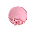 Cosmetic powder brush circle box and crushed blush palette isolated on white clipping path. Royalty Free Stock Photo