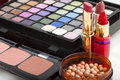 Cosmetic products for makeup closeup view of Stock Image