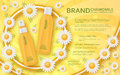 Cosmetic template with chamomile. Vector illustration.