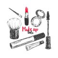 Cosmetics and beauty background with make up artist and hairdressing objects: lipstick, cream, brush. With place for your text .Te
