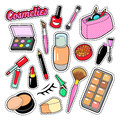 Cosmetics Beauty Fashion Makeup Elements with Lipstick and Mascara for Stickers, Badges, Patches