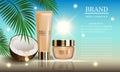Cosmetics beauty marine summer series, premium coconut oil cream for suntan and skin care. Vector illustration Royalty Free Stock Photo