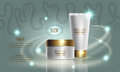 Cosmetics beauty series, premium cream for skin care. Template for design poster, placard, banners, vector illustration.