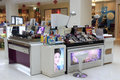 Cosmetics counter in tesco market amoy city china Stock Images