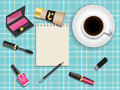 Cosmetics and Cup of coffee