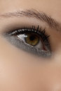 Cosmetics, eyeshadows. Macro of fashion shine winter glitter eye make-up Royalty Free Stock Photos