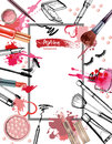 Cosmetics and fashion background with make up artist objects: lipstick, cream, brush. Vector.
