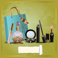 Cosmetics gift set and perfume bottles with bags blank label Royalty Free Stock Photography