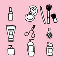 Cosmetics icon illustration of cute hand drawn Royalty Free Stock Image