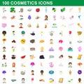 100 cosmetics icons set, cartoon style