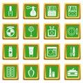 Cosmetics icons set green