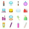 Cosmetics items icons set, cartoon style