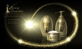 Cosmetics luxury beauty series, ads of premium body cream for skin care. Template for design banners, vector illustration.