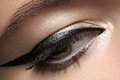 Cosmetics. Macro of beauty eye with eyeliner make-up Royalty Free Stock Photo