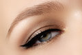 Cosmetics make up beautiful female eye with sexy black liner makeup fashion big arrow shape on woman s eyelid chic evening Stock Photography