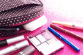 Cosmetics with a makeup bag on a pink background taken various against from slightly higher position lighted from the right rear Stock Images