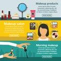 Cosmetics makeup banner horizontal set, flat style