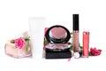 Cosmetics - makeup powder, cream, blush Royalty Free Stock Photo