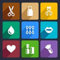 Cosmetics perfume flat icons set and tools for web and mobile applications Stock Image