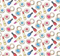 Cosmetics seamless pattern with lipstick, nail polish and eyeshadow