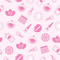 Cosmetics seamless pink pattern or texture, backgr Stock Image