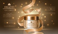 Cosmetics series, ads of premium collagen oil cream for skin care and ribbon, template for design banners, vector illustration.