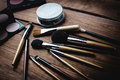 Cosmetics set for make-up on desk Royalty Free Stock Photo