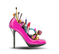 Cosmetics set into a womans shoe. Royalty Free Stock Image