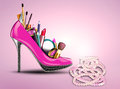 Cosmetics set into a womans shoe and pearl necklac Royalty Free Stock Photos