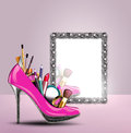 Cosmetics set into a womans shoe reflecting in sty Stock Image