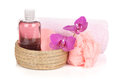 Cosmetics, towel and orchid flowers Stock Images