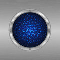 Cosmic design porthole with a view of the stars flickering dark blue background Stock Photos